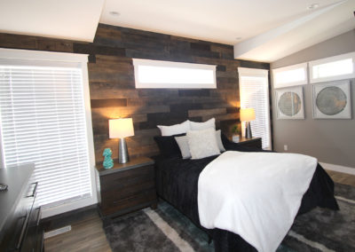 Master Bedroom with Barn Board Accent Wall